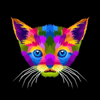 Colorful cute cats pop art portrait