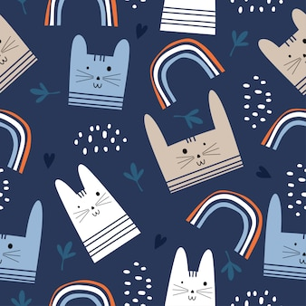 Colorful cute cats seamless pattern