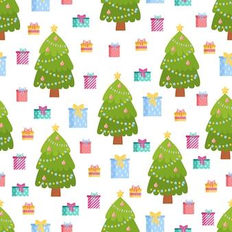 カラフルなかわいいクリスマス要素のシームレスなパターン明けましておめでとうとメリークリスマスの背景