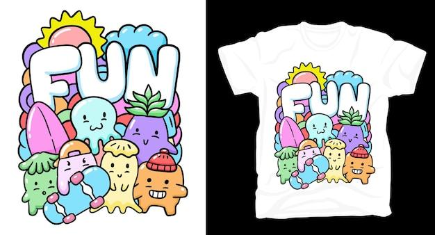 다채로운 귀여운 낙서 괴물 티셔츠 디자인