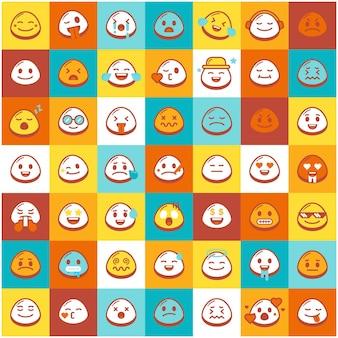 Colorful cute emoji pattern template