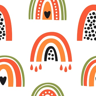 Colorful cute exotic rainbows seamless pattern illustration on white background