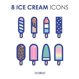 복고풍 두꺼운 윤곽선 아이콘 그림 스타일의 다채로운 귀여운 아이스크림과 아이스 캔디