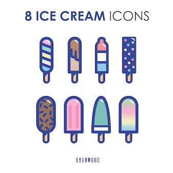 Colorful cute ice cream and popsicles in retro thick outline icon illustration styl
