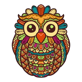 Colorful cute owl mandala vector design