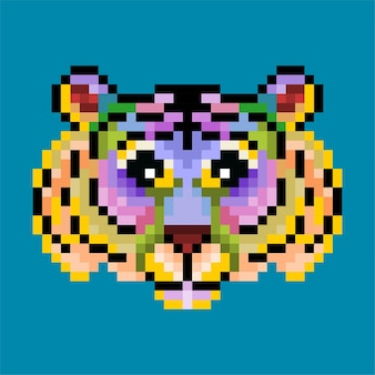 Красочный милый пиксельный тигр