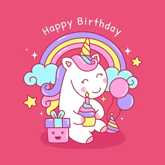 Colorful cute rainbow unicorn for birthday greeting card illustration