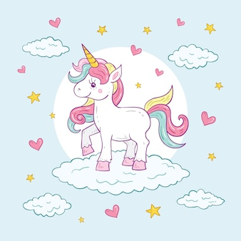 Colorful cute unicorn character illustration