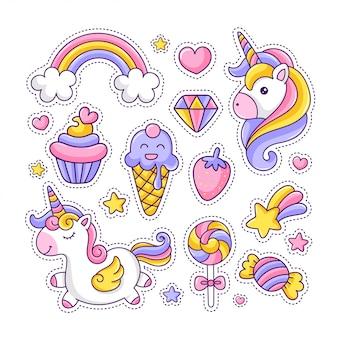 Colorful cute unicorn and desserts sticker pack