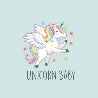 Colorful cute unicorn logo illustration