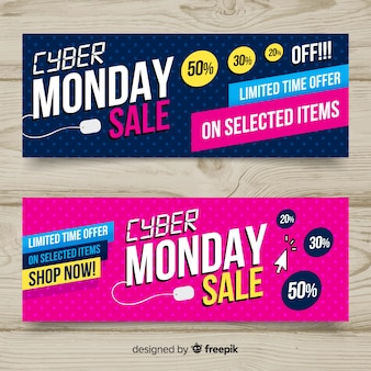 Colorful cyber monday banners with flat design