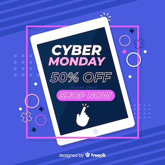 Colorful cyber monday in flat design