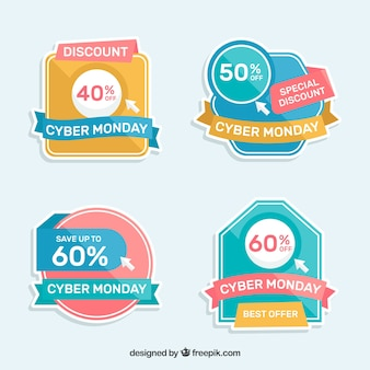 Colorful cyber monday labels