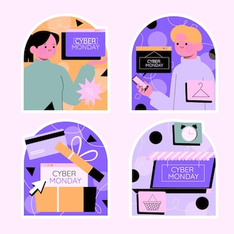 Colorful cyber monday stickers collection