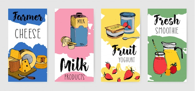 Colorful dairy products vertical advertising flyer set.