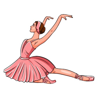 Colorful dance of a ballerina. ballerina in pointe shoes and a rose dress. for design and decoration.