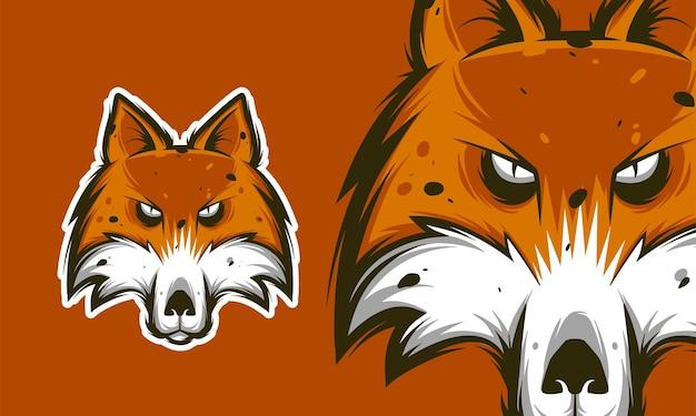 Colorful dangerous scary ferocious wolf head mascot vector illustration