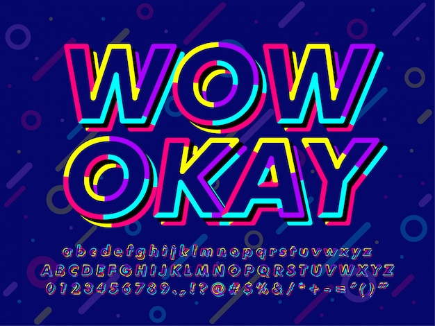 Colorful dark memphis text effect