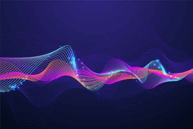 Colorful dark wavy background