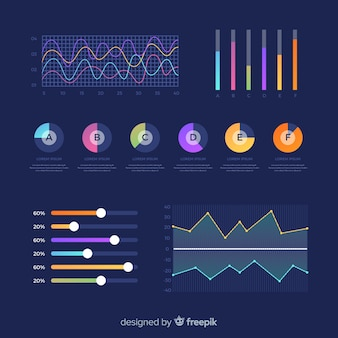 Colorful dashboard collection of chart elements