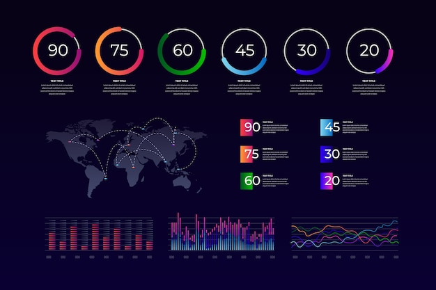 Colorful dashboard element collection