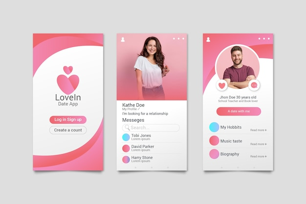 Colorful dating app concept