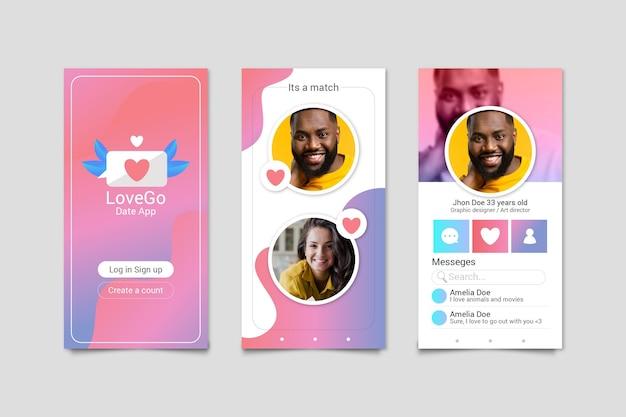 Красочная концепция приложения для знакомств