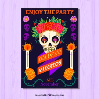Colorful day of death party poster
