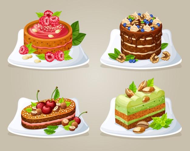 Набор красочных декоративных тортов на тарелках