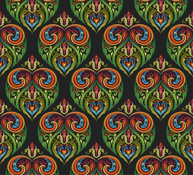 Colorful decorative floral folk style seamless pattern