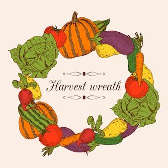 新鮮な野菜の丸い花輪の形のカラフルな装飾フレーム