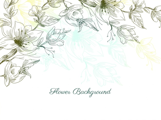 Colorful decorative hand drawn flower design background