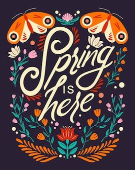 動物と花の装飾とカラフルな装飾的な手書きのタイポグラフィデザイン。春の手レタリングイラストデザイン。民芸風の春のモチーフ。