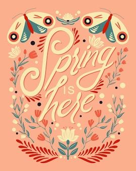 동물과 꽃 장식과 함께 화려한 장식 필기 타이포그래피 디자인. 봄 핸드 레터링 일러스트 디자인. 민속 예술 스타일의 봄 모티브.