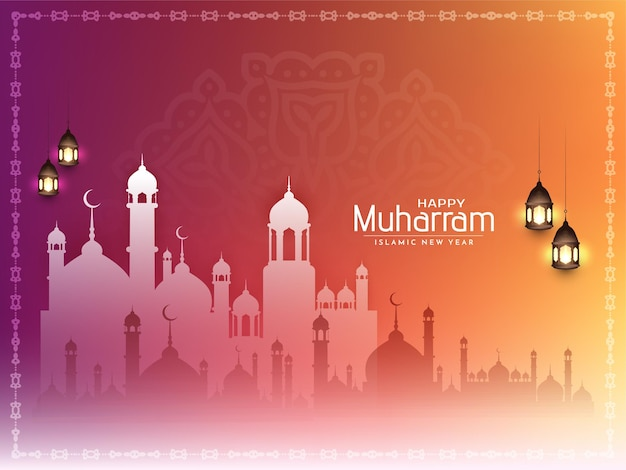 Colorful decorative happy muharram and islamic new year background vector