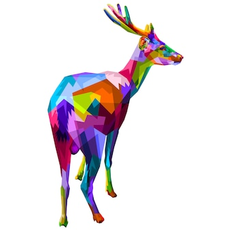 Colorful deer on geometric pop art style.