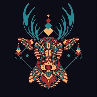 カラフルな鹿のイラストマンダラzentangle