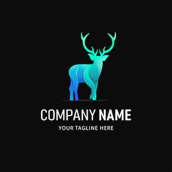 Colorful deer logo design. gradient style animal logo