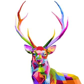 ポップアートスタイルのカラフルな鹿