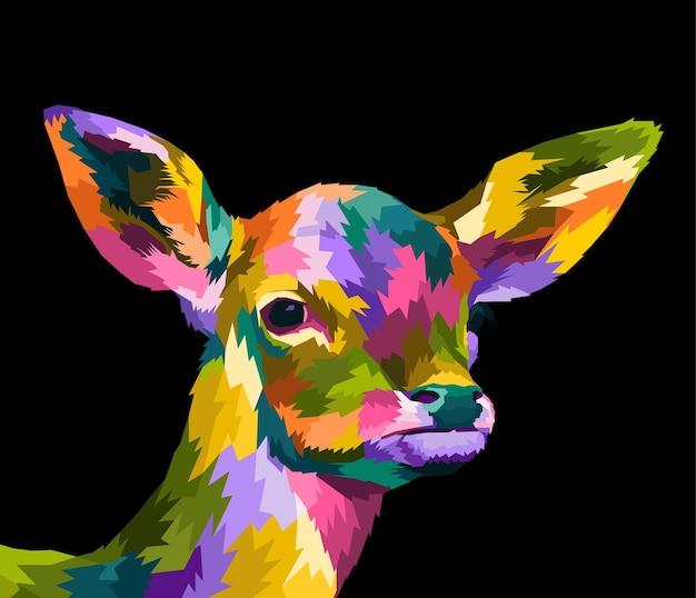 カラフルな鹿のポップアートの肖像画プレミアムポスターデザイン孤立した装飾