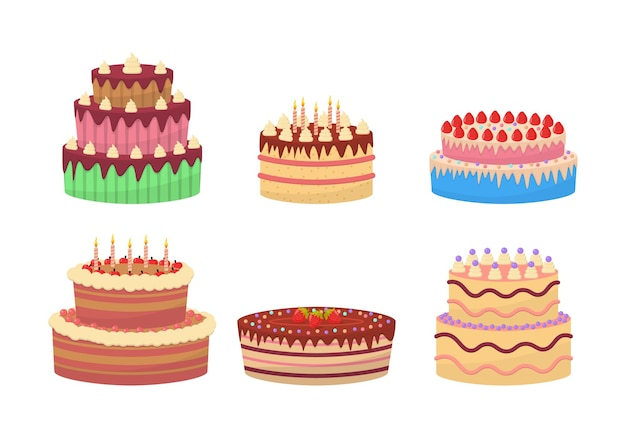 Colorful delicious desserts, birthday cakes with celebration candles and chocolate slices