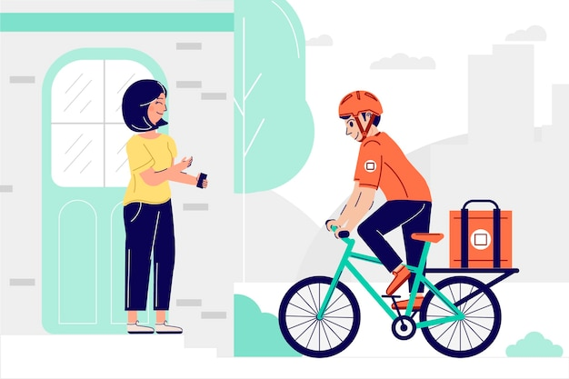 Colorful delivery concept illustrated