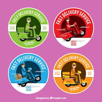 Colorful delivery labels with scooter