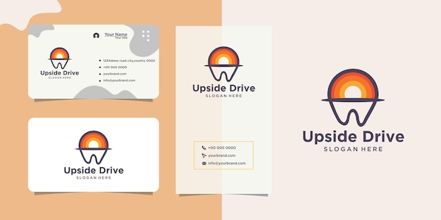 Colorful dental clinic logotype design and business card
