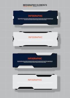 Красочный дизайн чистый номер 4 варианта баннеров шаблон Premium векторы