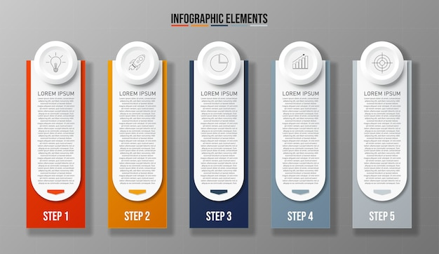 Colorful design clean number 5 options banners template graphic or website layout easy to use.