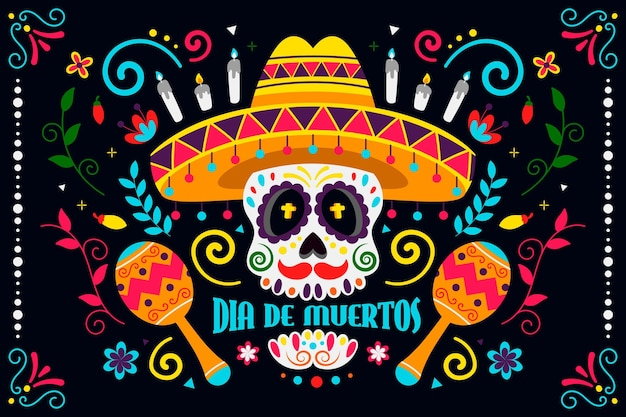 Colorful design day of the dead background