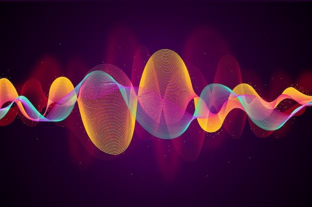 カラフルなデザインのイコライザー波背景