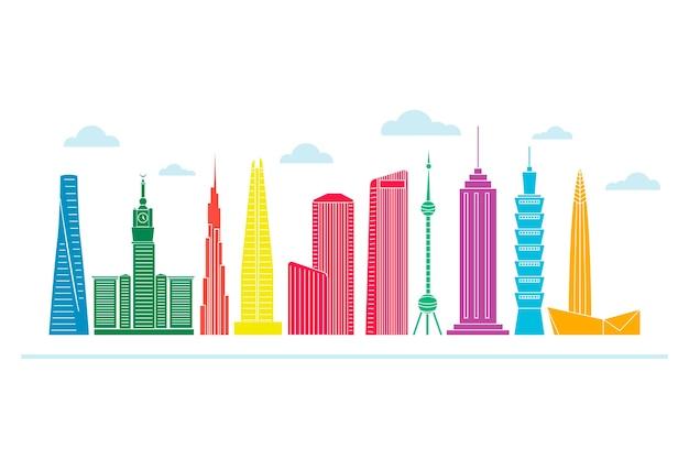 Design colorato per edifici famosi in tutto il mondo