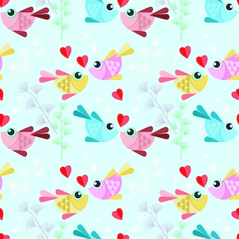 Colorful design fish with heart seamless pattern.